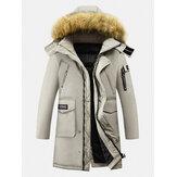 Erkek Kış Kalınlaşmak Zip Up Orta Uzunlukta Kürk Kapşonlu Sıcak Aşağı Ceket