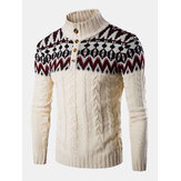 Mens Graphics Knitted Half Button Warm Cable Sweaters