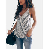 Striped Sleeveless Casual Front Cross Tank Tops