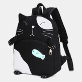 Women Cute Cat Canvas Large Capacity Backpack