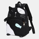 Kvinder nuttet kat lærred stor kapacitet rygsæk