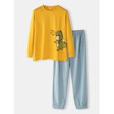 Mens Cartoon Print Loose Breathable Long Sleeve Elastic Waist Home Pajamas Set