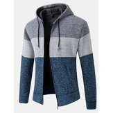 Mens Colorblock Wool Knitting Thick Warm Long Sleeve Hoodie Jacket