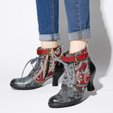 SOCOFY Embossed Splicing Tribal Pattern Buckle Deco Lace-up Zipper Warm Lined Ankle Boots