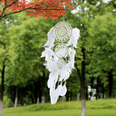 Fiore di pizzo bianco Dreamcatcher Campanelli eolici Stile indiano Pendente piuma Dream Catcher Creative Car Hanging Decorazione con Feather Core Bead Dream Catcher per parete Decorazione auto Dream Catcher Decor