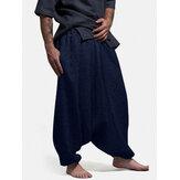 Banggood Design masculino cor sólida elástica cintura caída-virilha Calças