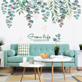 Removable Nordic Style Green Leaf Wall Stickers for Living Room Bedroom Dining Room Kitchen Wall Decals Sofa Murals