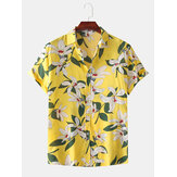 Männer Color Block Lily Print Kragen umdrehen Hawaii Holiday Casual Kurzarmhemden
