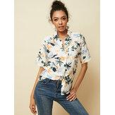 Hawaii Tatil Tarzı Yaprak Baskı Kadın Kısa Kollu Casual Gömlek