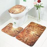 HonanaBX3قطعالإبداعينمط الخشب عدم الانزلاق السجاد الحمام حمام حصيرة المرحاض غطاء المرحاض حصيرة