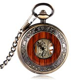 Deffrun Vintage Wooden Design Hand Wind Mechanical Watch