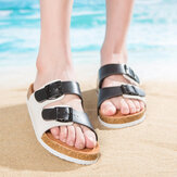 Women Casual Beach Dual Strap Buckle Open Toe Soft Cork Sandals