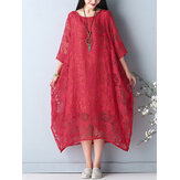 Elegant Women O-Necklace Crochet 3/4 Sleeve Pure Color Midi Dress