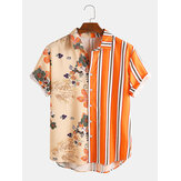 Banggood Design Männer Tropenpflanzen Colorful Streifen Mixed Print Kurzarm Casual Holiday Shirts