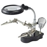 LED Light Soldering Iron Stand Holder Helping Hands Magnifying Glass Magnifier