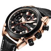 MEGIR2065sportmontresCreativeChronograph Quartz Bracelet en cuir pour hommes