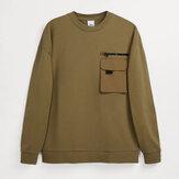 Jednokolorowa bluza męska bluza z kapturem bluzy z okrągłym dekoltem zimowa jesień Casual Streetwear