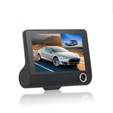 4 Inch 1080P Dual Lens Car DVR Dash Cam Camera Video Recorder Vista traseira G-sensor