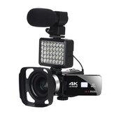 Filmadora com câmera de vídeo KOMERY AF2 48M 4K para Vlogging Transmissão ao vivo NightShot Filmadora anti-vibração com tela de toque de 3,0 polegadas WIFI Controle de APP Gravação de vídeo DV com luz de lente de microfone