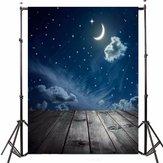 3x5FT Vinil Lua Noite Sky Estrela Piso De Madeira Fotografia Backdrop Fundo Estúdio Prop