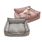 2 Warna Stripe Pola Pet Sofa Bed Mat Dog Cat Sofa Kennel Pet Bed