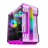 RGB Light Bar Computer Caso Painéis de vidro temperado ATX Gaming Water Cooling PC Caso E-Sports Online Cafe Desktop Game Supplies