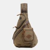Mannen echt leer en canvas reistas outdoor draagtas multi-pocket crossbody tas borsttas