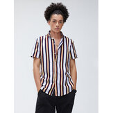 Men Casual Stripe Button Up Turn Down Collar Short Sleeve Shirts