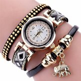 Rivet Diamond Elephant Pendant Women Quartz Watch
