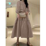 Vestido feminino casual de cor sólida com zíper em manga bufada plissada maxi