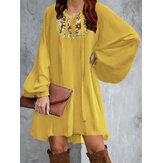 Цветочная вышивка Puff Sleeve Lace-Up Loose Bohemian Mini Платье Для Женское