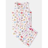 Plus Size Women Funny Cartoon Print Home Sleeveless Softies Vest Pajama Set
