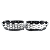2PCS Front Kidney Grill Grille Diamond Chrome For BMW 3 Series F30 F35 F80 2011-2019