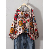 Vintage Floral Print Three Quarter Sleeve Cotton Blouse