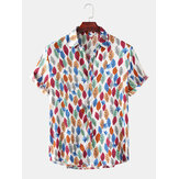 Men Fashion Allover Leaves Print Turn Down Collar Hawaii Holiday Button Up Short Sleeve Shirts