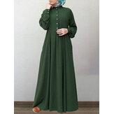 Kadınlar% 100 Pamuk Katı Retro Mandarin Yaka Puf Kol Düğmesi Uzun Kollu Maxi Elbise