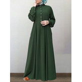 Mujer 100% Algodón Sólido Retro Cuello mandarín Manga abullonada Abotonado Manga larga Maxi Vestido