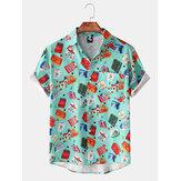 Mens New Hawaii Beach Short Sleeve Print Shirts