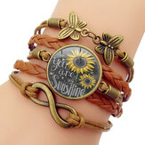 Retro Butterfly Infinity Combination Braided Bracelet Printed Sunflower Time Gemstone Decoration Handmade Multilayer Bracelet