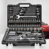 CREST 82 pièces outils de réparation de clé à douille à cliquet ensemble Machine de réparation automatique avec boîte à outils en plastique