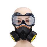 Filtro de Gás Duplo Máscara Pintura a Spray Química Óleo Proteção contra Poeira de Fumaça Máscara com Óculos de Proteção