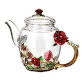 7 قطع طقم شاي الزفاف المينا الزجاج زهرة مقاومة للحرارة وعاء القهوة أكواب حزب