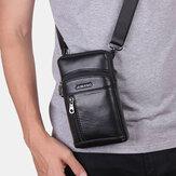 Men Genuine Leather 6.5 Inch Retro Phone Bag Belt Bag Crossbody Bag