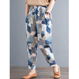Women Geometric Printed Elastic High Waist Pants With Pocket