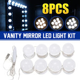 Dimmable Mirror Light Kit USB 8 LED Bulbs Vanity Makeup Dressing Table Hollywood Style
