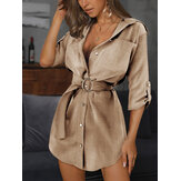 Women Pure Color Lapel Chest Pocket Belted Button Up Casual Loose Shirt Dress