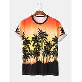 Jay Chou Mojito Aynı Stil Degrade Renk Hindistan Cevizi Ağacı Baskı Ekip Boyun Kısa Kollu Hawaii Plaj T-Shirt