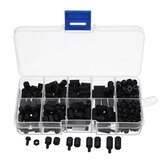 Suleve™ M3NH1 M3 Nylon Screw Black Hex Screw Nut Nylon PCB Standoff Assortment Kit 300pcs