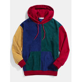 Heren retro colour block patchwork corduroy hoodies met trekkoord