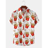 Мужские рубашки с короткими рукавами и легким воротником с лацканами и принтом картофеля фри по всей поверхности